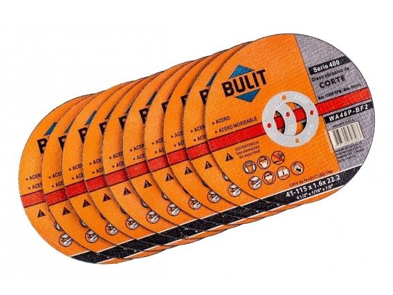 """10 Discos De Corte BULIT Amoladora Serie 400 115x1.6x22.2 - 4.5"""""""