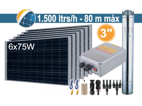 Bomba Sumergible Solar (Tornillo) Seif Energy 3SPST1.5/80-D24/210 - 6x75W