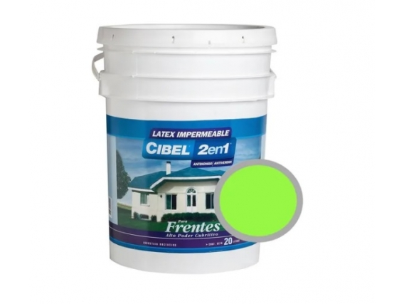 Latex Frentes 2en1 Cibel Exterior Impermeable 20 Lts Verde Manzana