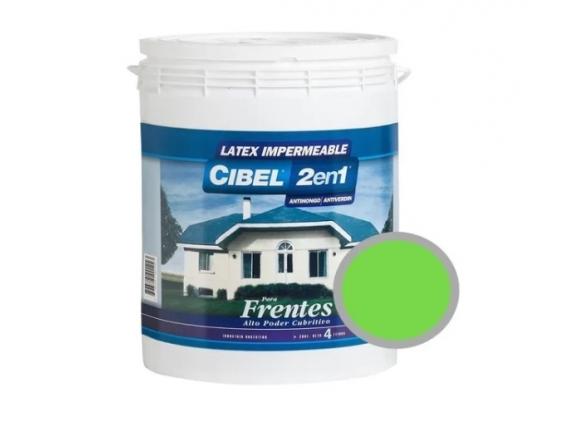 Latex Frentes 2en1 Cibel Exterior Impermeable 4 Lts Verde Manzana