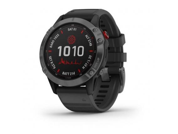 Reloj Garmin Fenix 6 Pro Solar Gris Oscuro Malla Negra S.A