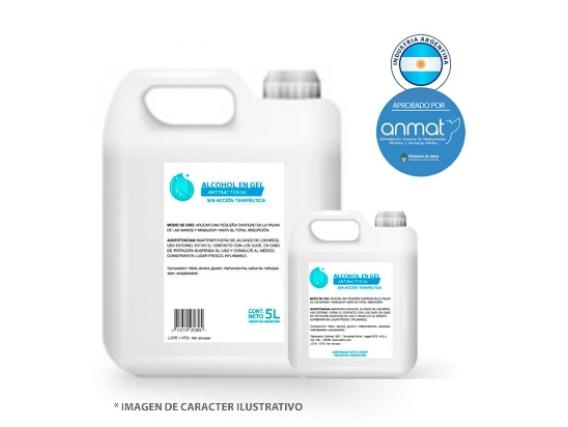Alcohol En Gel Bidon 5Lts Certificación Anmat