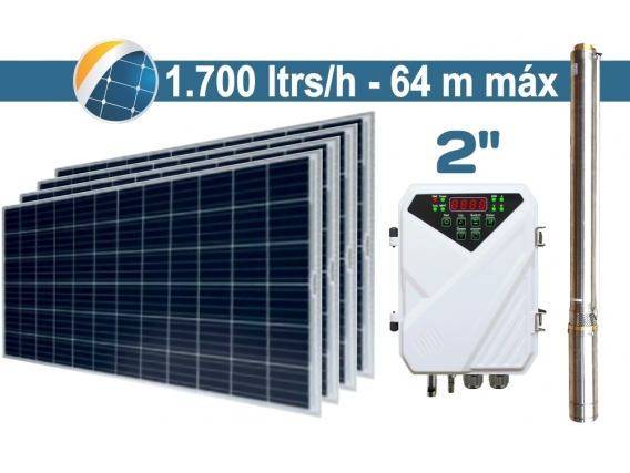 "Bomba De Agua Solar Sumergible SEIF Energy 2"" Centrifuga 1700L 64M Paneles 4x285W"