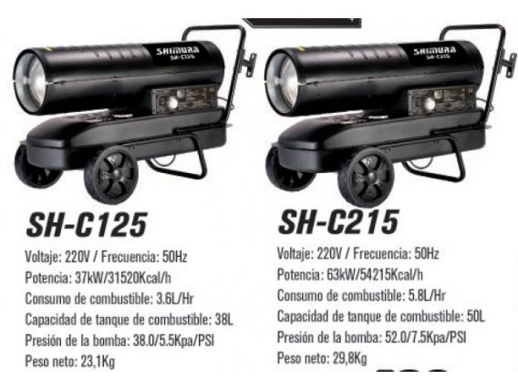 Calefactores Shimura Sh-C125 / Sh-C215