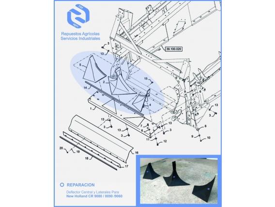 Cementado Deflectores Cosechadora New Holland 9080/60