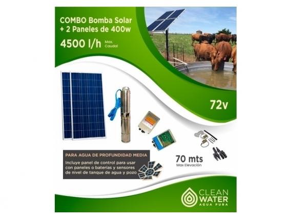 Combo 4500 L/h Bomba Solar Y 2 Paneles De 400W