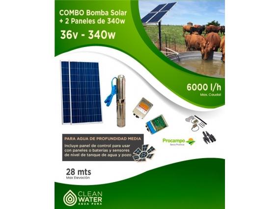 Combo Bomba solar 6000 l/h + 2 paneles de 340 w