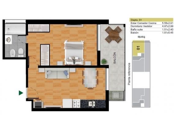 Departamentos 1 Dormitorio De Pozo Pte. Roca 1160