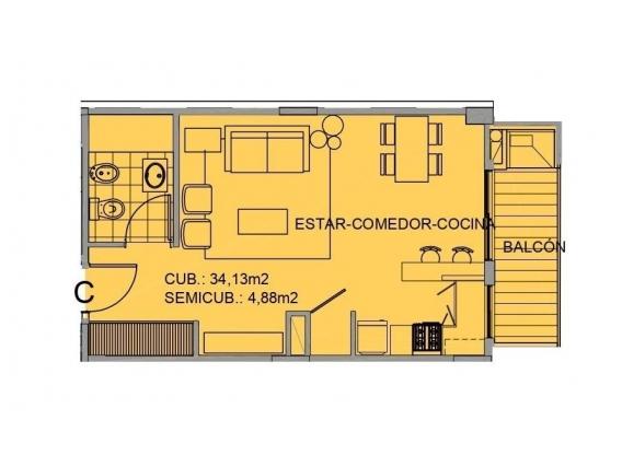 Depto En Venta Monoambiente 39 M2 - México 1400