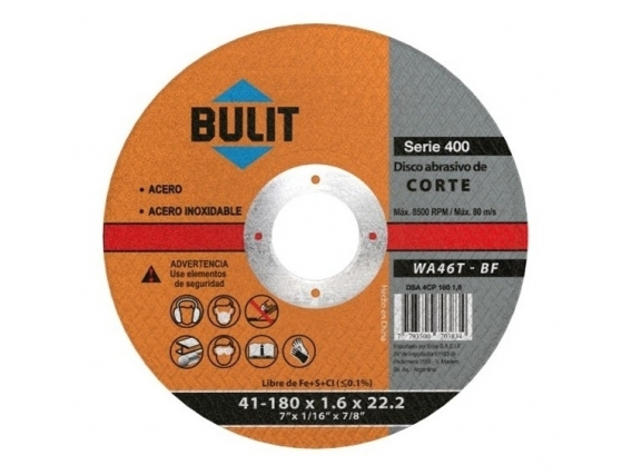 "Disco De Corte BULIT Para Amoladora 180x1.6x22.2 - 7"""