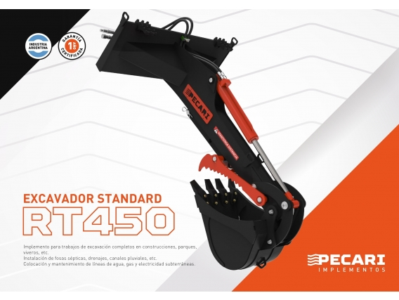 Excavador Standard Pecari Rt 450 Para Minicargadora