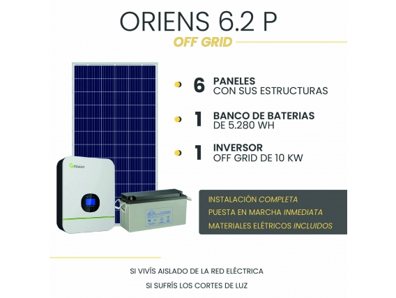 Kit Solar Off Grid - Oriens 6.2P - Instalación Incluida