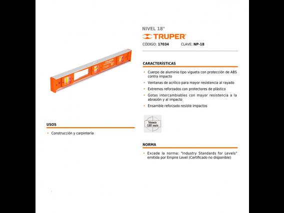 """Nivel Truper 18"""" Clasico 450Mm 3 Gotas"""