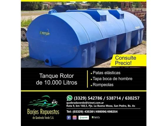 Tanque Horizontal Rotor De 10.000 Litros Plastico