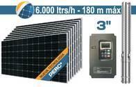 "Bomba De Agua Solar Hibrida Sumergible SEIF Energy 3"" Centrifuga 6000L 180M Paneles 8x380W"