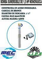 Bomba Sumergible Monofasica De 1,5Hp