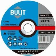 "Disco De Corte BULIT Amoladora Serie 600 115x1x22.2 - 4.5"""