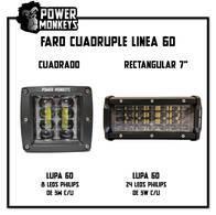 """Faro Cuádruple Linea 6D - Cuadrado Y Rectangular 7"""" -"""